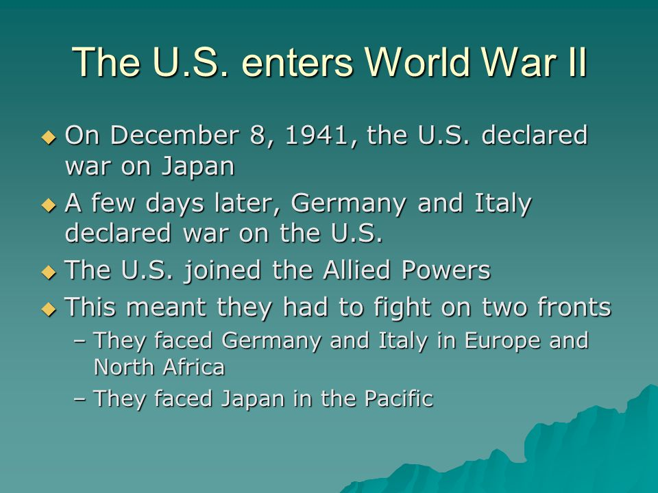 World War II ends the Great Depression  In order to fight a war, weapons and other supplies are needed  When the U.S.