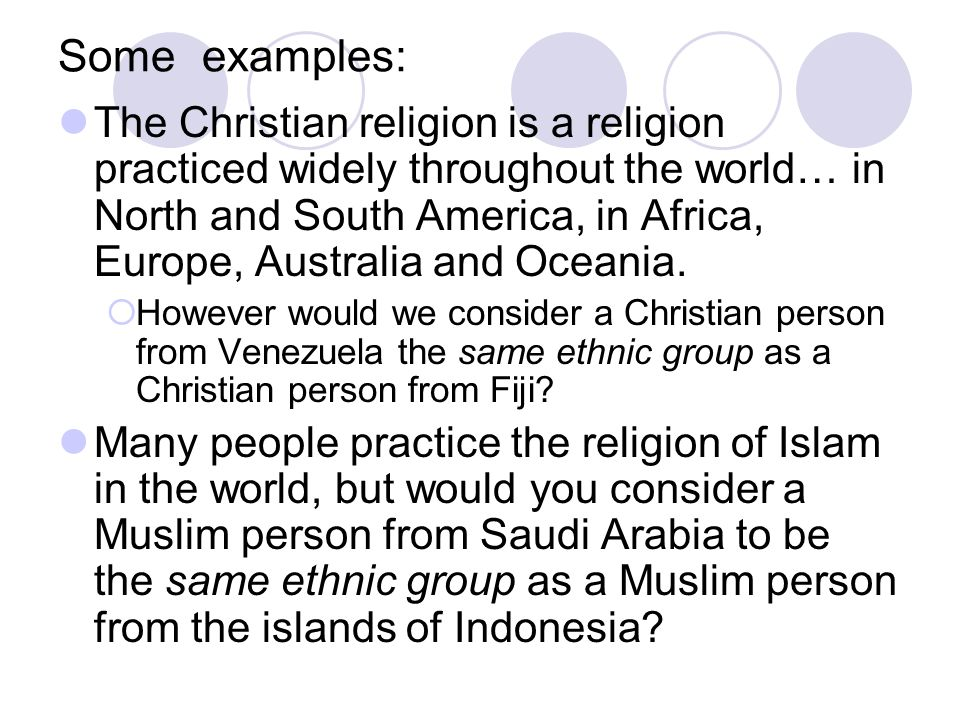 Look at the following questions and decide if the question relates to an ethnicity or religion.