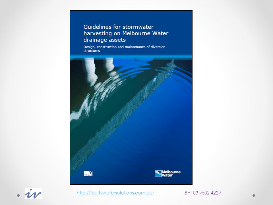 To assist stormwater harvesting proponents Melbourne Water has developed standard drawings and associated technical guidelines for the design, construction and maintenance of diversion structures for stormwater harvesting on Melbourne Water assets.