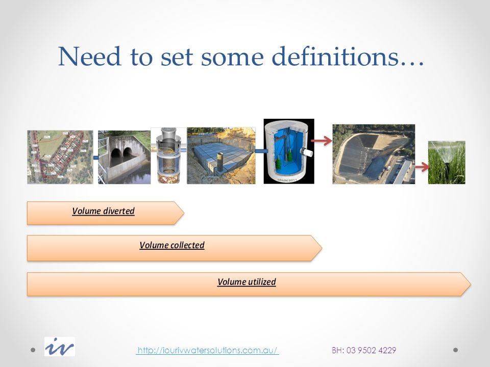 Guidelines for Stormwater Harvesting on Melbourne Water assets Design, Construction & maintenance of diversion structures http://iourivwatersolutions.com.au/ BH: 03 9502 4229 http://iourivwatersolutions.com.au/
