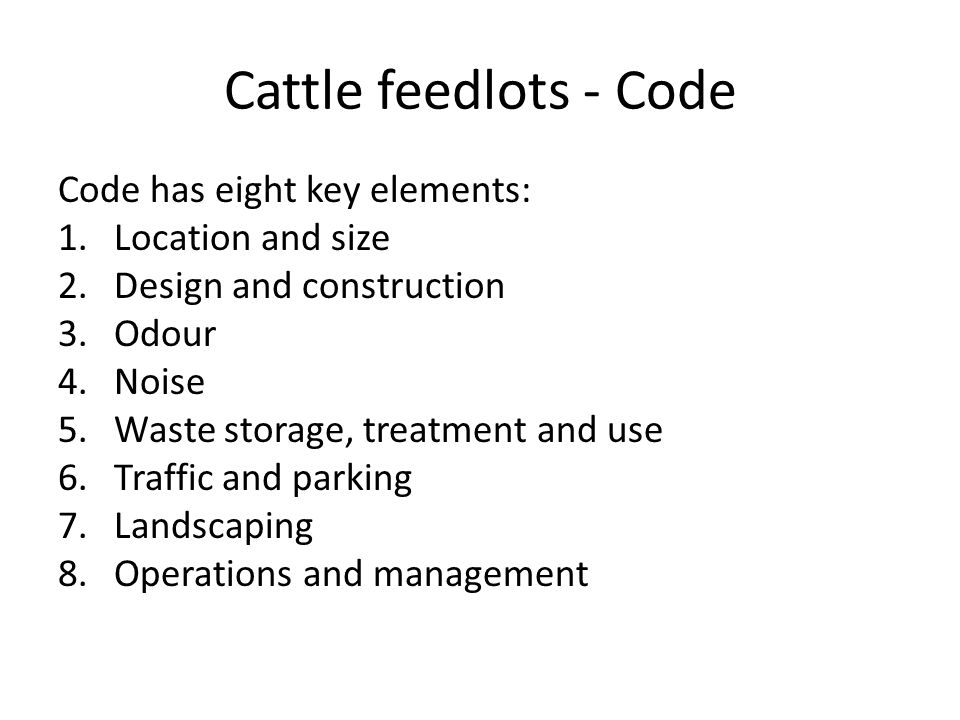 Cattle feedlots - auditing Pre-operational audit Annual audit Additional audit(s) Other audits … NFAS, e.g.