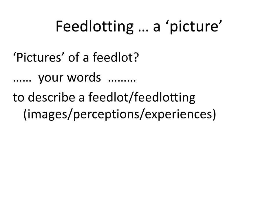 Feedlotting … outline 'Pictures' of feedlotting Drivers behind feedlotting The Victorian/Australian industries Adapting with confidence
