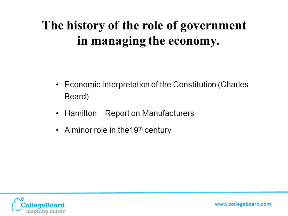 www.collegeboard.com Creation of Federal Reserve Board (1913) President's Budget (1921) Turning point of the Great Depression Congressional Budget and Impoundment Control Act (1974) The history of the role of government in managing the economy.