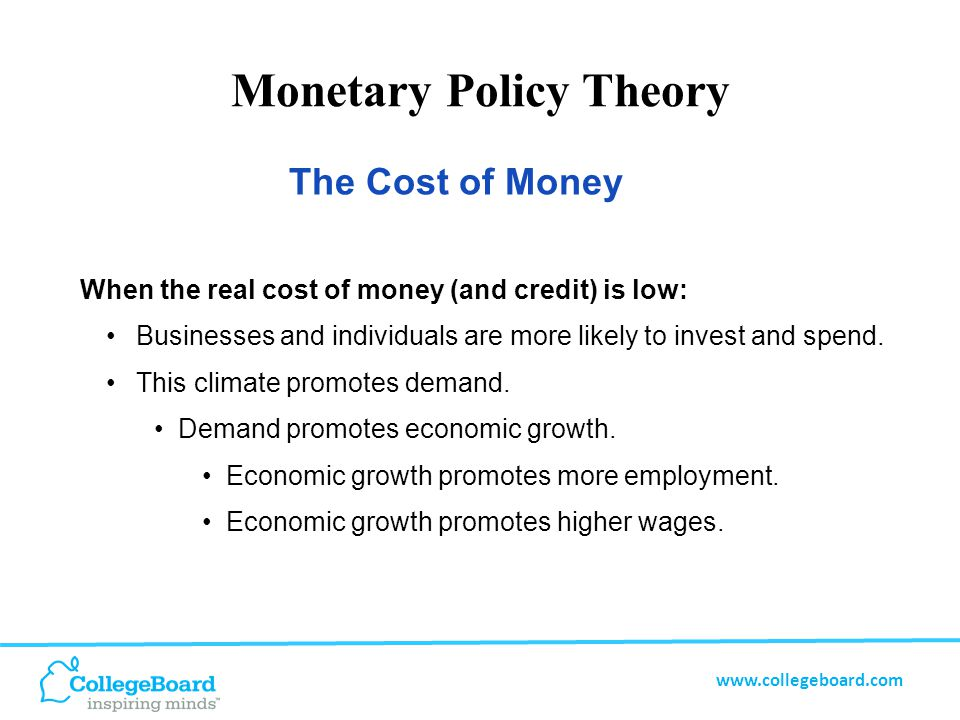 www.collegeboard.com Monetary Policy Theory When the real cost of money (and credit) is too low: Demand can begin to outstrip productive capacity.