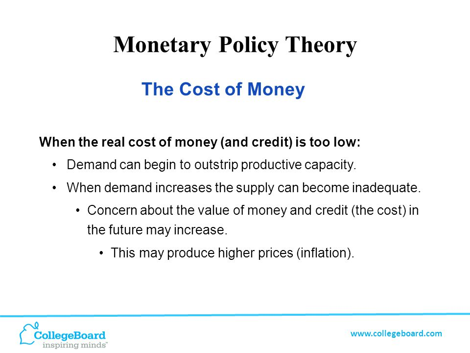www.collegeboard.com Monetary Policy Theory The goal is to find the right balance between the cost of money and supply and demand — the right balance of economic growth.