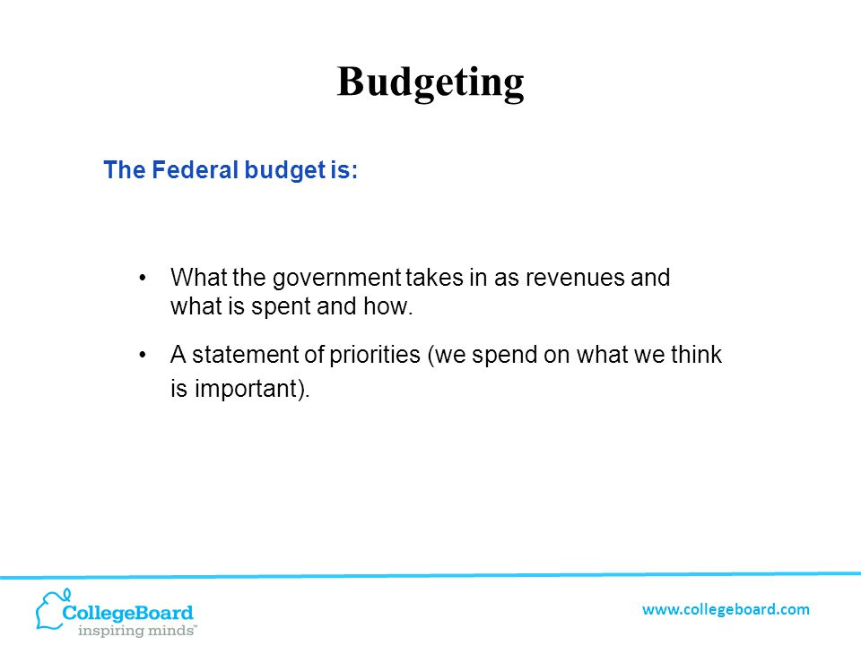 www.collegeboard.com Budgets are Plans The President has a plan.