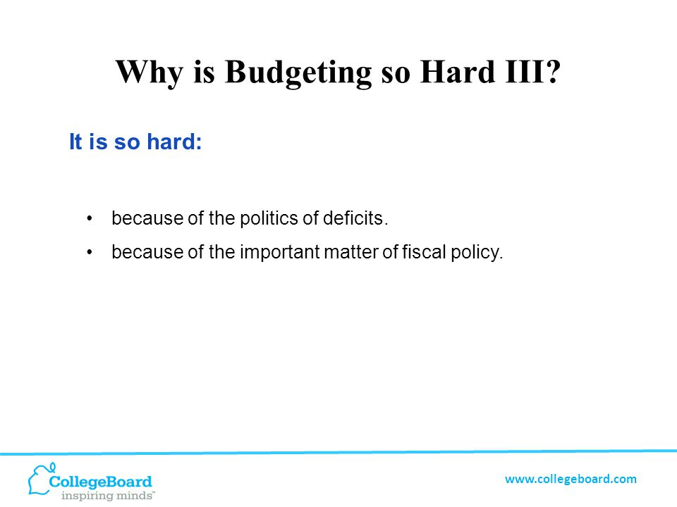 www.collegeboard.com An Activity for Teaching About the Budget Please reference the handout.