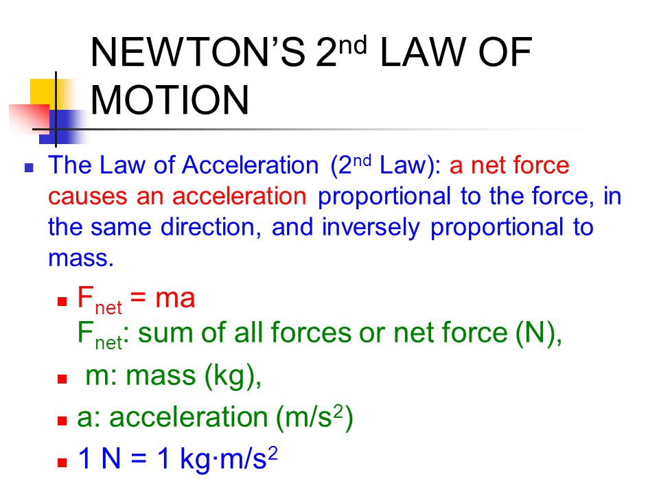 Second  The greater the force, the greater the acceleration  The greater the mass, the greater the force needed for the same acceleration  Calculated by: F = ma  (F = force, m = mass, a = acceleration) NEWTON'S 2 nd LAW OF MOTION