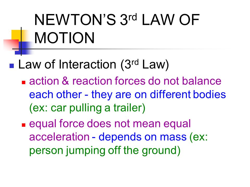 Examples of Newton's 3 rd law