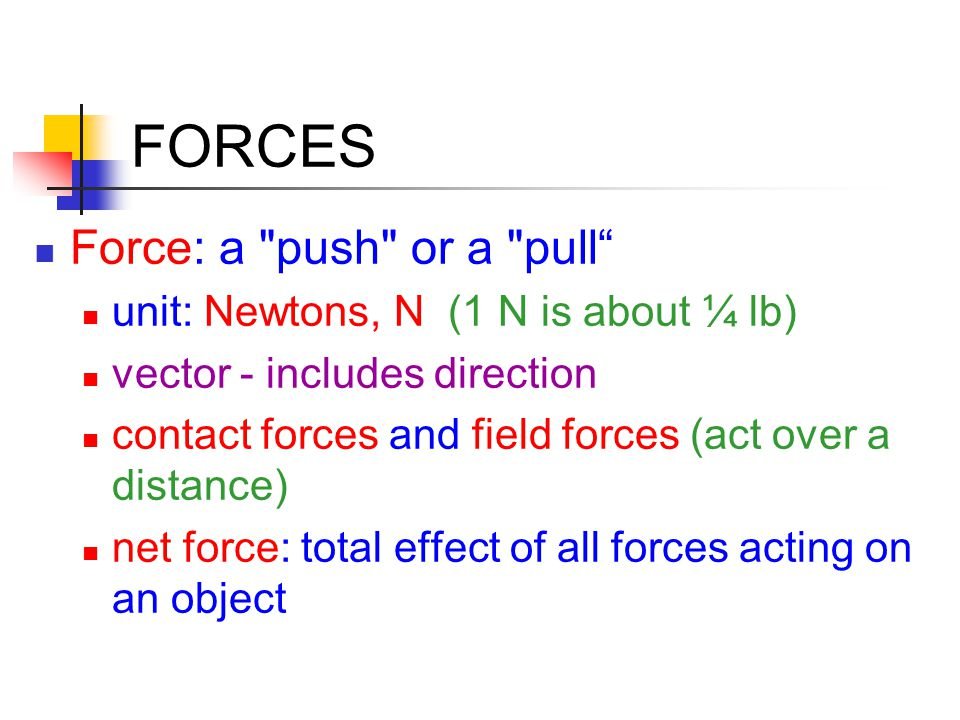 FORCES Typical Forces gravity, F G : object's weight, always directed toward center of earth (F G =mg mass × acceleration due to gravity) normal force, F N : supporting force a surface exerts on an object, always directed upward perpendicular to the surface tension, F T : force transmitted by a rope or chain, directed along the rope, constant throughout the rope