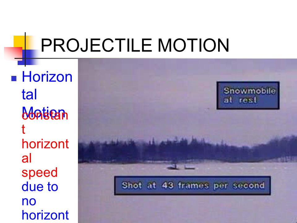 PROJECTILE MOTION A snowmobile fires a flare, then slows down.