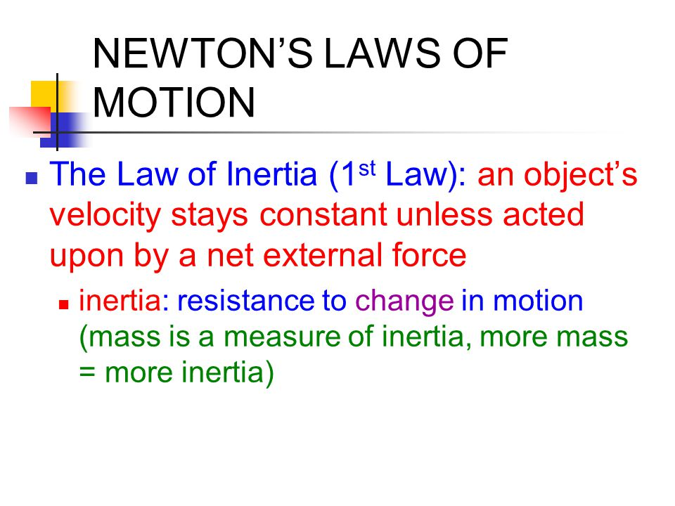 Example of Newton's 1 st Law
