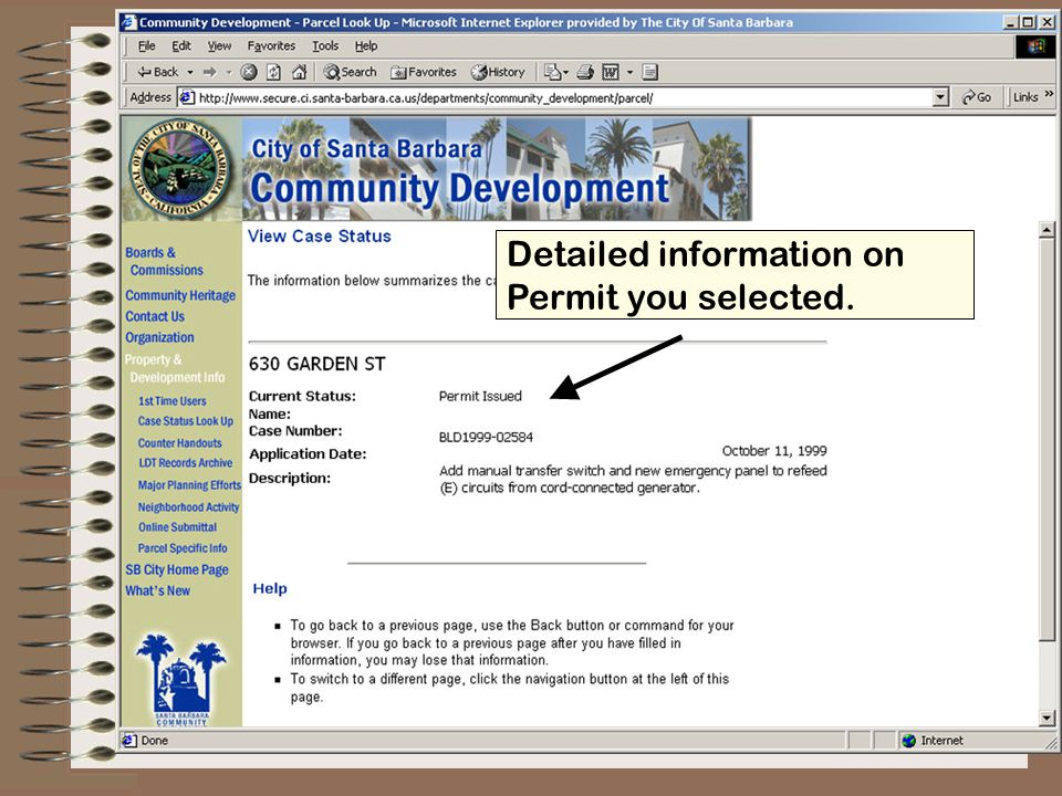 To find other parcel specific information, start the process over from the parcel look up page.