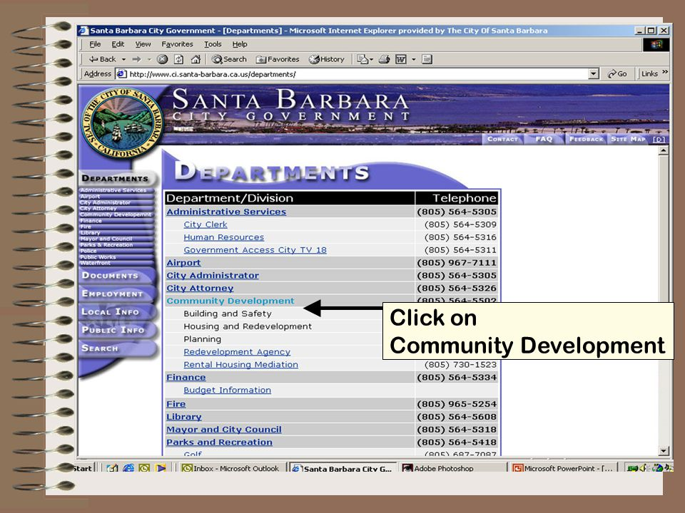 Click on Property and Development Information