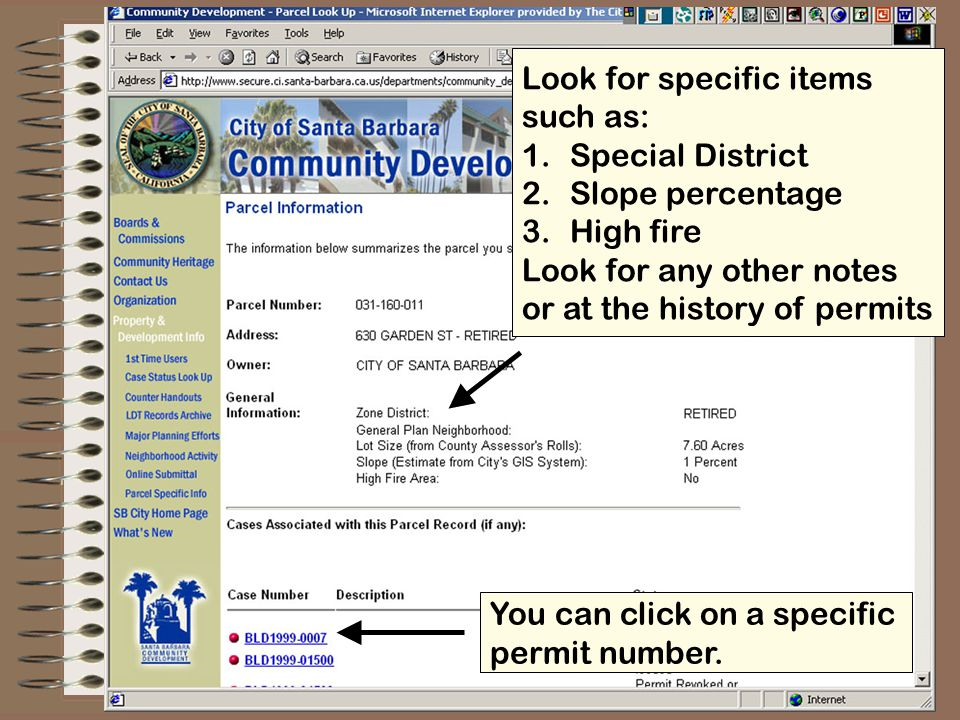 Detailed information on Permit you selected.