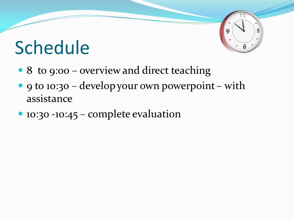 What you will learn today Overview of Office 2007 Choose a design (background) Add new slides Change the font and color Insert clip art or a photo Add transitions Change the order Print note form Run the Slide Show