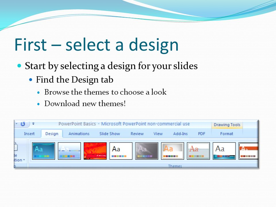 Add slides choose layouts Click on the home tab then new slide