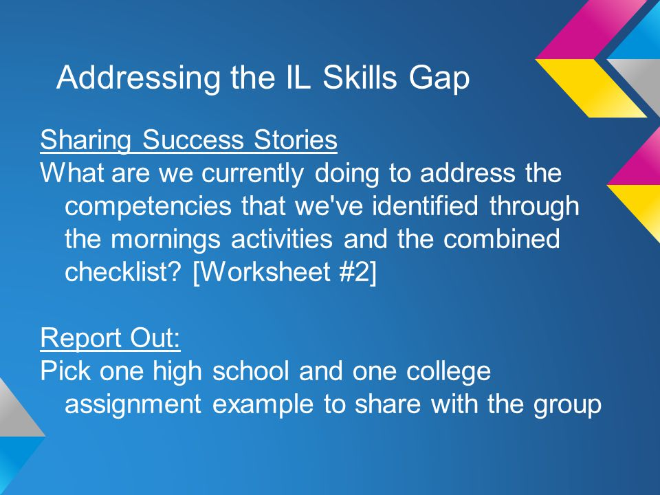 Addressing the IL Skills Gap Creating a shared assignment/activity Informed by the day s discussion, brainstorm an activity or assignment that addresses a gap within a previously identified competency.