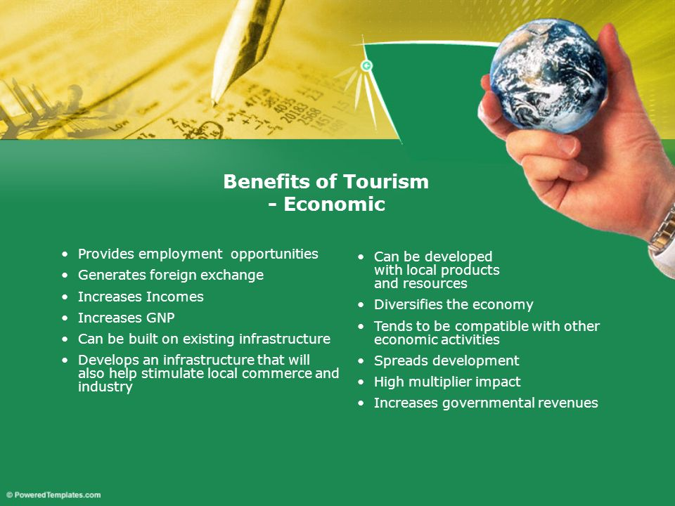 Broadens educational and cultural horizons Improves quality of life - higher incomes and improved standards of living Justifies environmental protection and improvement Provides tourist and recreational facilities that may be used by a local population Benefits of Tourism - Social
