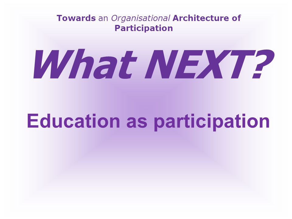Towards an Organisational Architecture of Participation Reactive or Pro-Active?