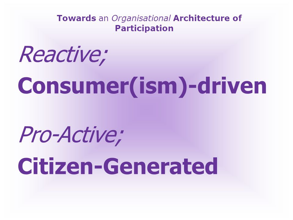 Towards an Organisational Architecture of Participation Reactive; National Curriculum Pro-Active; Learner-Generated