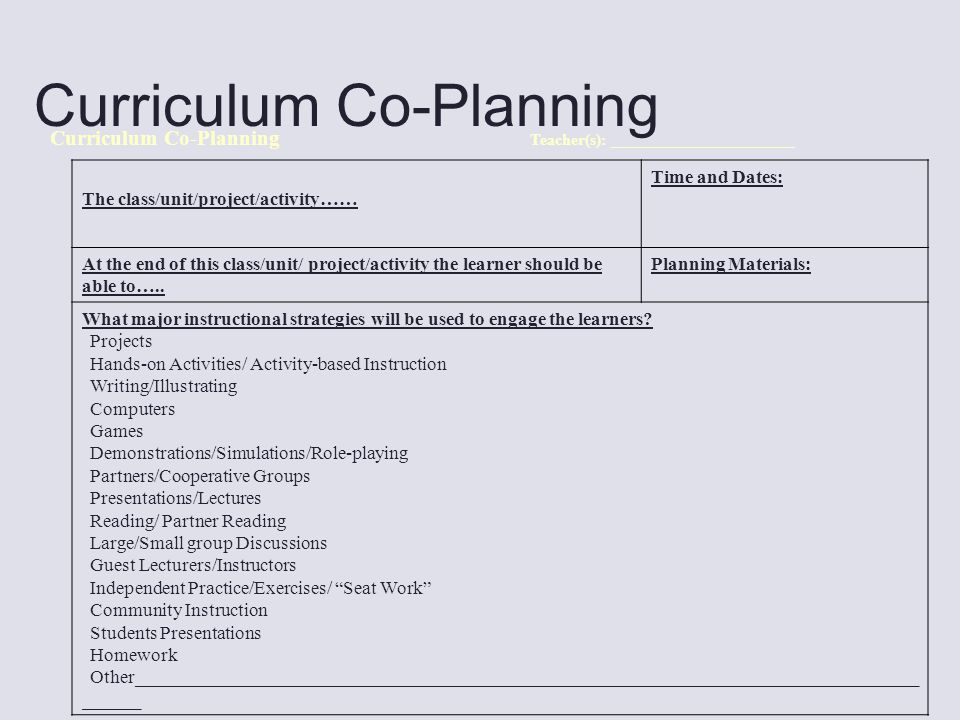Curriculum Co-Planning Teacher(s): _______________________ The class/unit/project/activity…… Time and Dates: At the end of this class/unit/ project/activity the learner should be able to…..