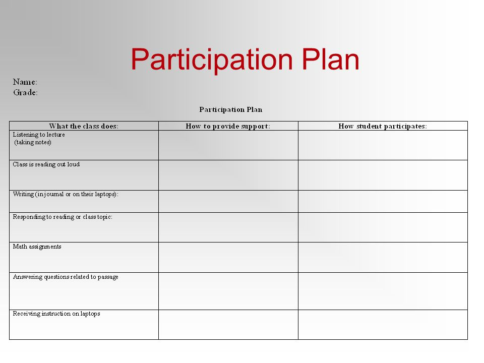Participation Plan