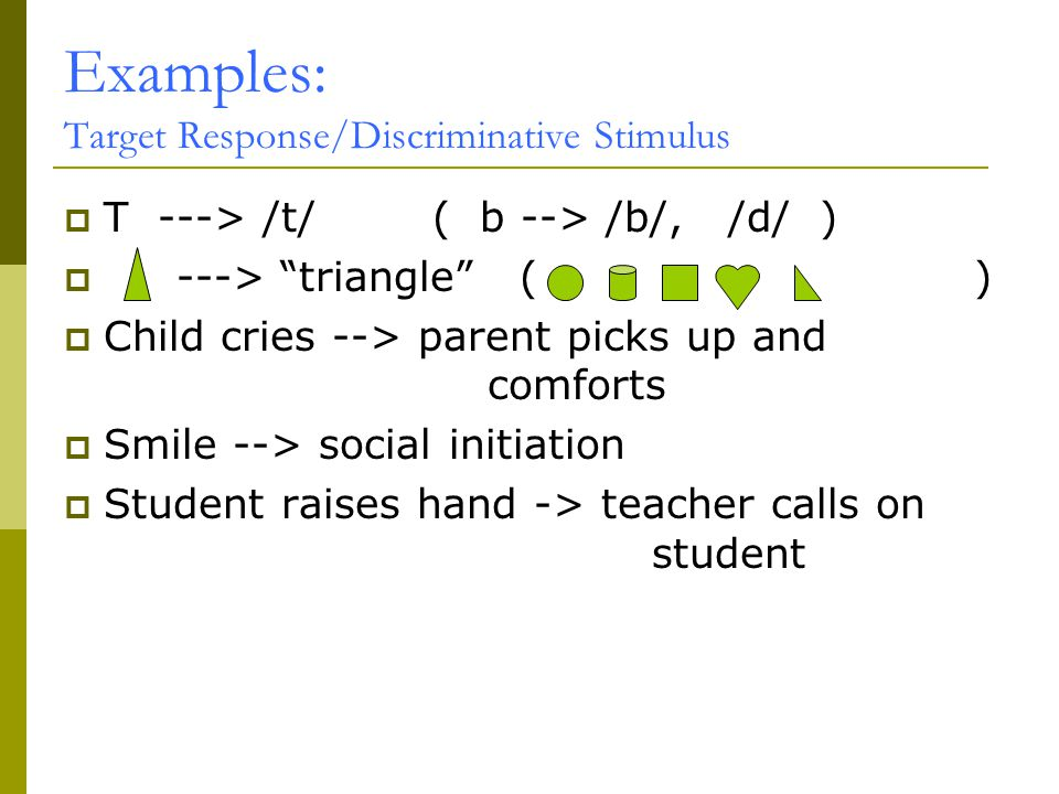 Examples: Target Response/Discriminative Stimulus  T ---> /t/ ( b --> /b/, /d/ )  ---> triangle ( )  Child cries --> parent picks up and comforts  Smile --> social initiation  Student raises hand -> teacher calls on student
