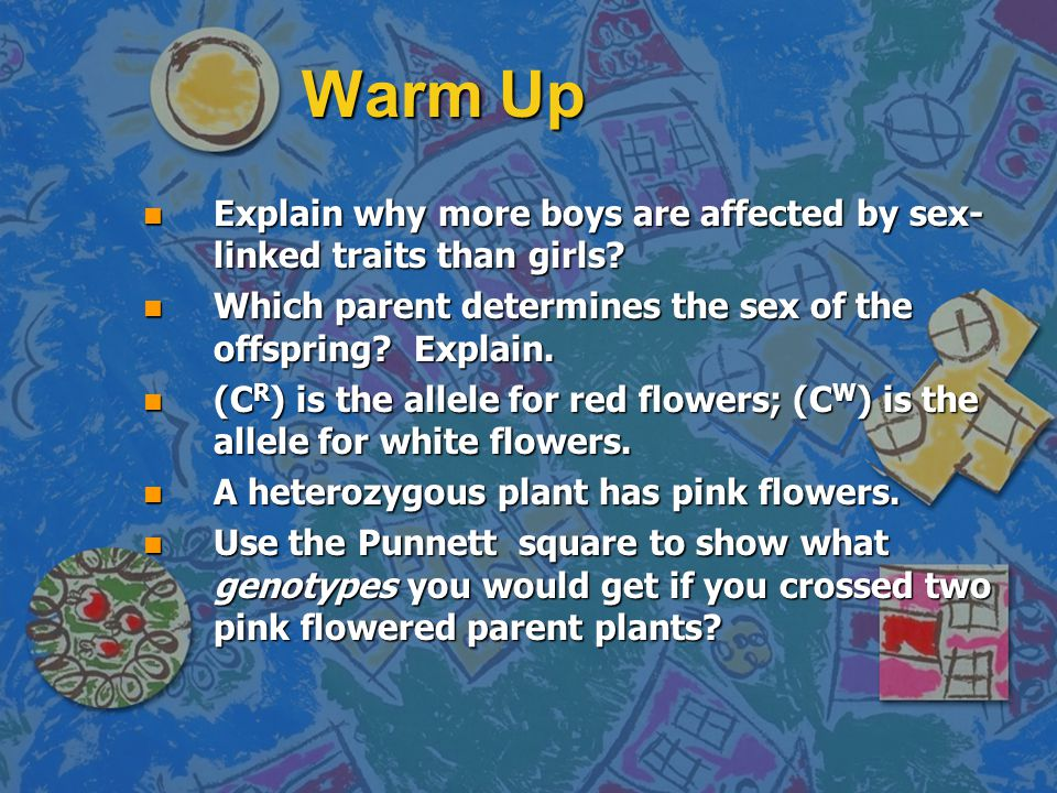 Warm Up n Explain why more boys are affected by sex- linked traits than girls.