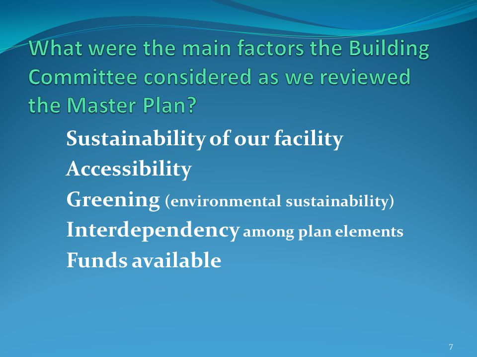 Sustainability of our facility— In the traditional sense; not the environmental sense.