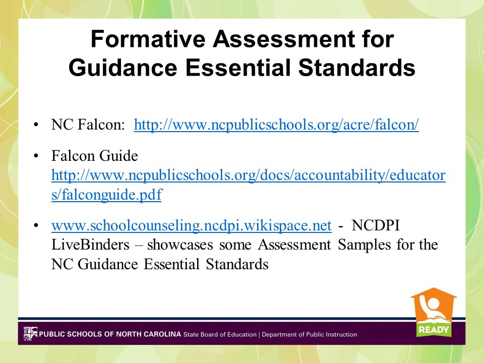 Formative Assessments for Guidance Essential Standards Where am I going.
