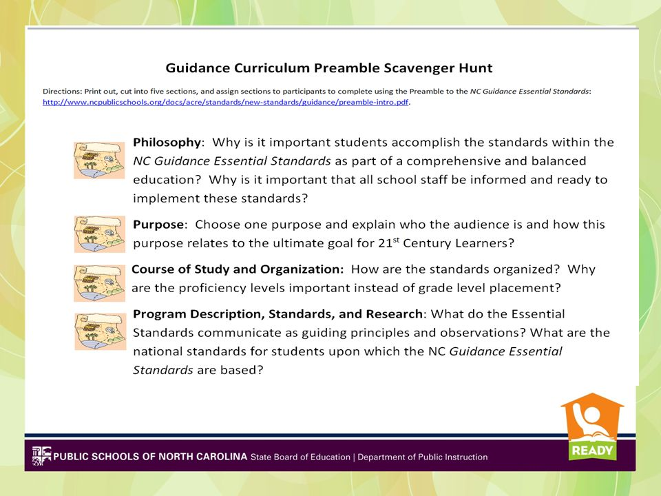 Understanding the Standards Standards are for Students –Proficiency Levels – based on student readiness, NOT a grade level placement –Clarifying Objectives indicate what students are to know, understand, and be able to do