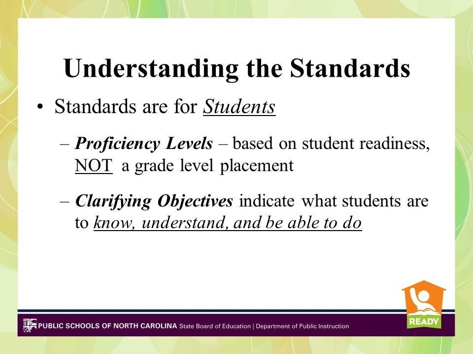 Strand 1(S1): Socio-Emotional (SE) Strand 2 (S2): Cognitive (C) Strand 3 (S3): Career (CR) 2-4 Essential Standards per strand with clarifying objectives for students to master within the proficiency levels for each standard