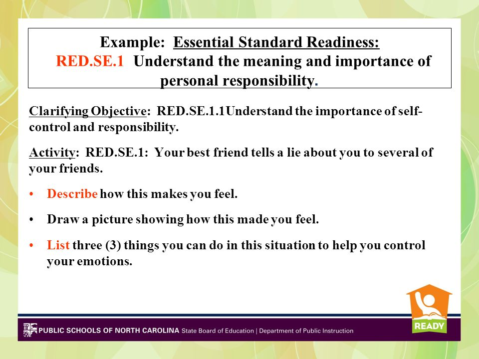 Example: Essential Standard Early Independent: EI.SE.1 Understand the meaning and importance of personal responsibility.