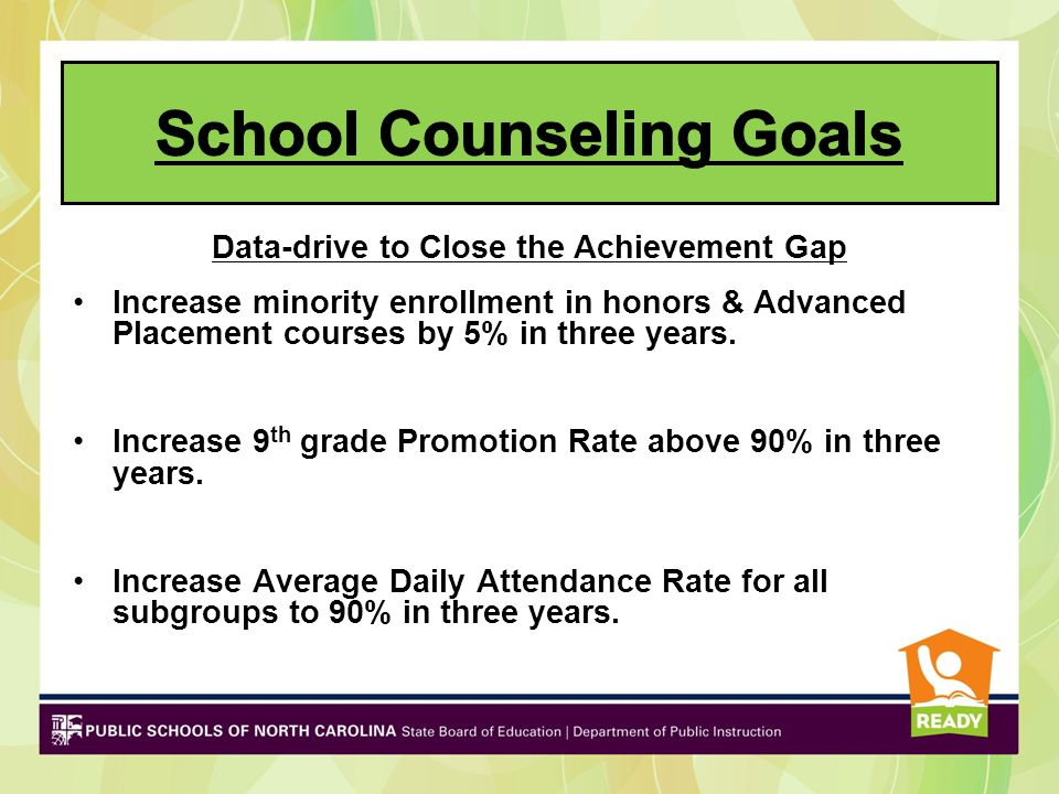 Redesign of Leadership and School Improvement PlanFocus Administration-Counselor Teams Leadership Team/SIP Team Leaders School Improvement Teams Professional Learning Communities –Curriculum Alignment/Common Assessments –Student Achievement including Recovery Program –ASCA National Model – RAMP for Counselors