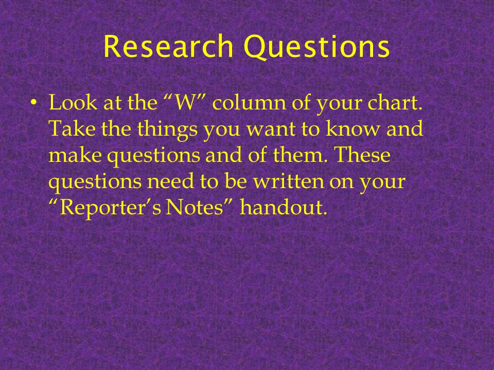 Researching with a purpose Now that you have refined your topic to a limited focus, established what you already know and want to know about your topic, and asked some research questions; your research time will be better spent and more productive.