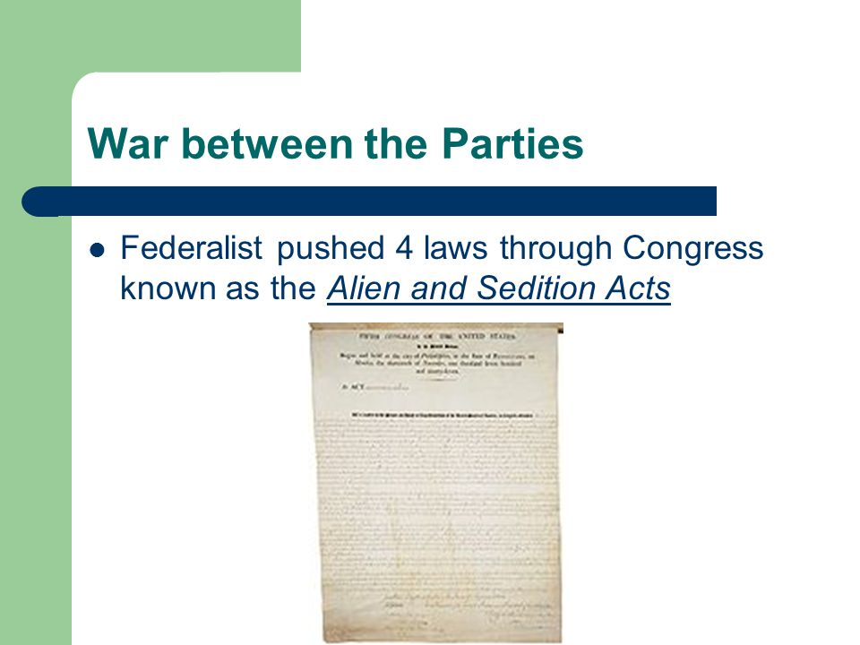 The first 3 said aliens in the country could not be citizens for 14 years, most of whom voted most often for the Republicans The last prevented sedition, or incitement to rebellion and speaking out against government