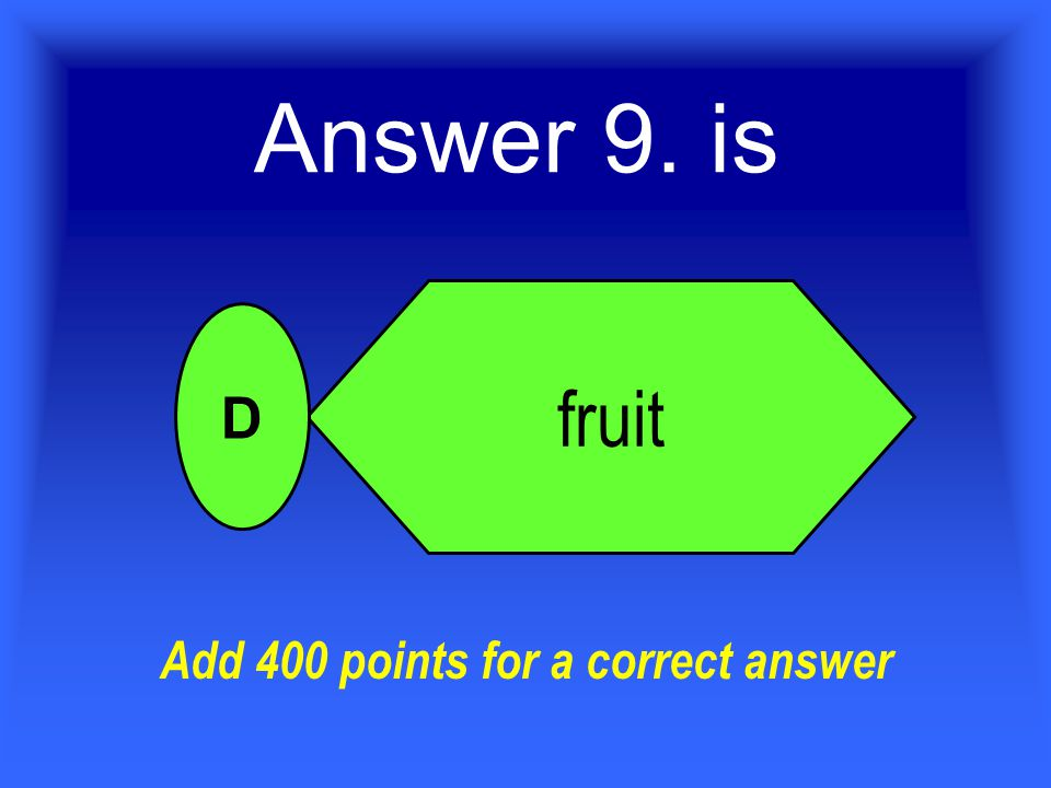 Answer 9. is fruit D Add 400 points for a correct answer