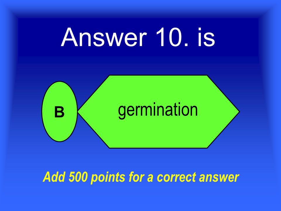 Answer 10. is germination B Add 500 points for a correct answer