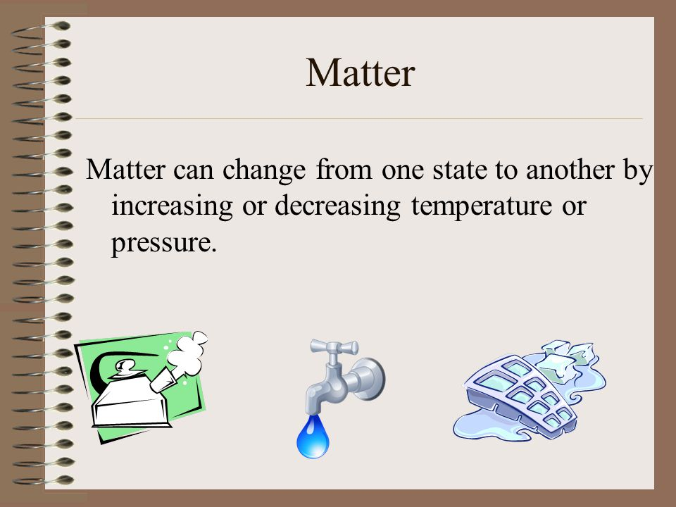 Five States of Matter Bose-Einstein Condensates Solids Liquids Gases Plasmas We are only going to concern ourselves about the three states of matter, as are common to our environment.