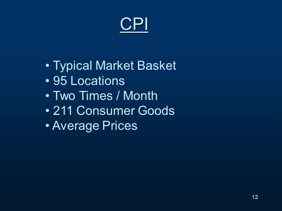 13 CPI – cont.1. Food & Beverages 2. Housing 3. Apparel 4.