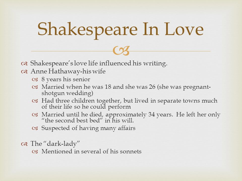 Shakespeare depicts all types of love.