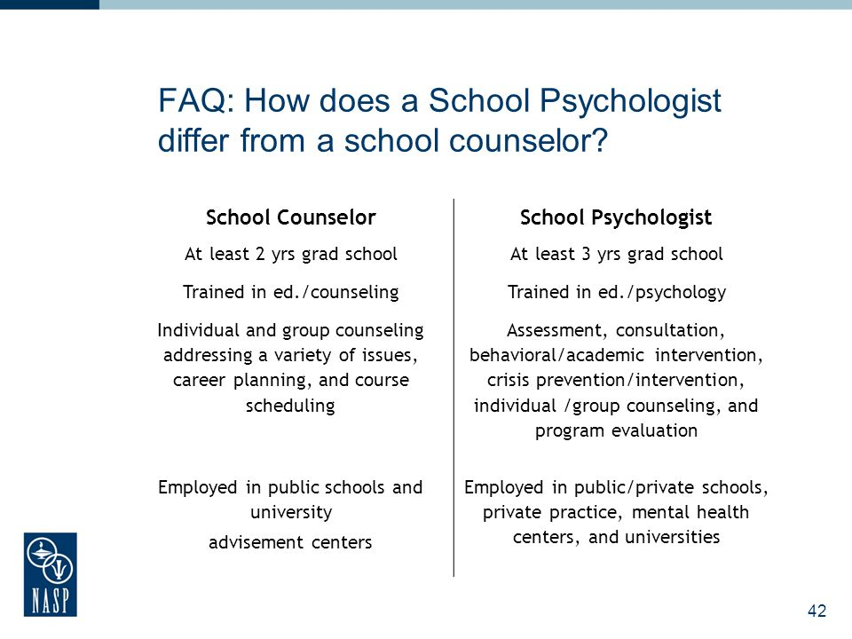 43 FAQ: How does a school psychologist differ from a child psychologist.