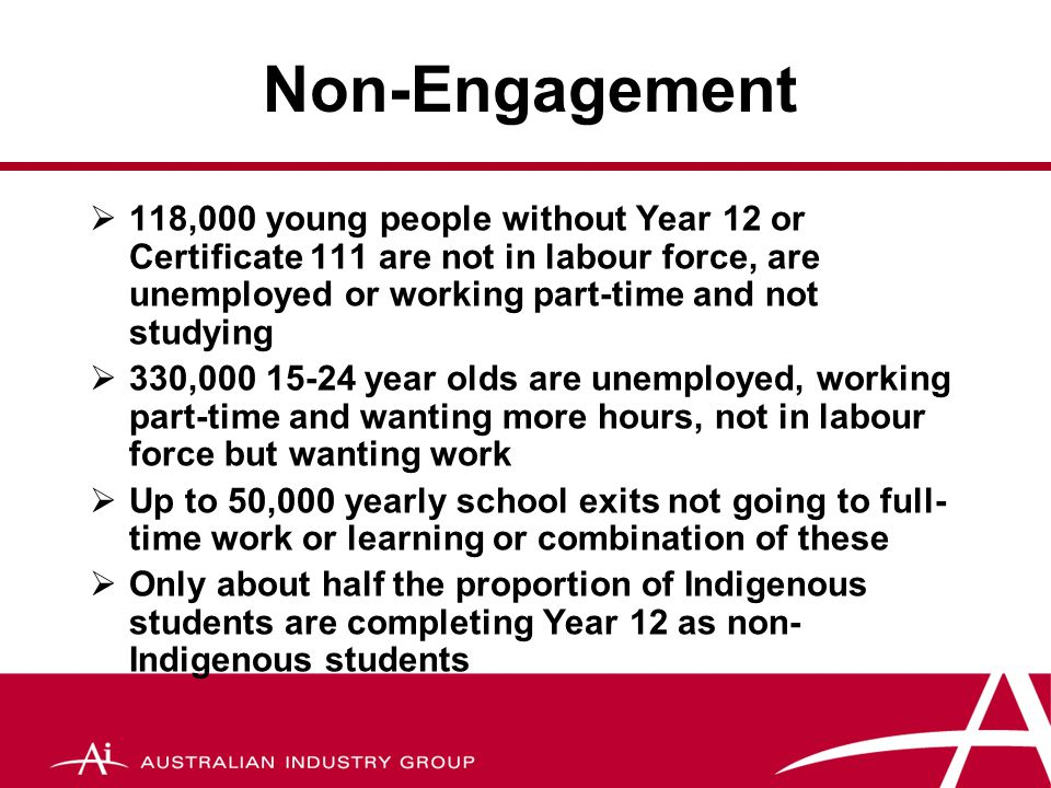 Skill shortages and school completion rates  Supply of VET qualifications remains the same as 2005 there will be a shortfall of 240,000 jobs over the next decade  To meet this shortfall net completions need to increase by 2% pa for a decade  Australia's rates have barely shifted over the last 15 years