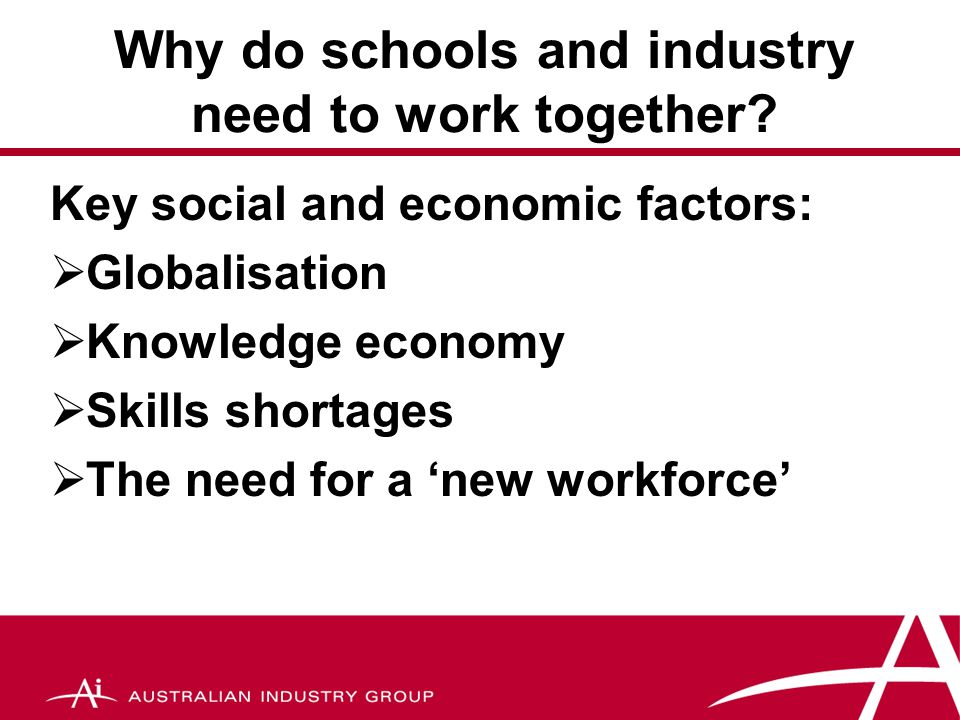 School – industry partnerships They (industry) exist in a global market and understand the skill sets required from our graduates, so they need to be part of the current discussion on national approaches to curriculum consistency and standards.