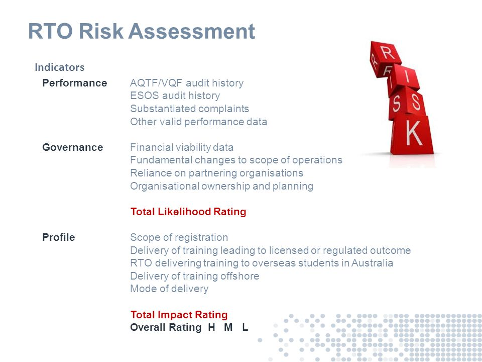 Risk Management Analysis of VET system risks: ● Data from audit outcomes about compliance trends ● Feedback from industry bodies (ISCs and industry regulators) and professional associations ● Complaints data and trends ● State/Territory/Australian Government intelligence (e.g.