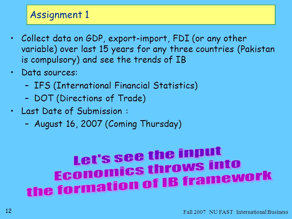 13 Fall 2007 NU FAST International Business Economic Picturization of Dream World Order Economics is said to be about efficient allocation of scarce resources among alterative uses Key word is scarcity.