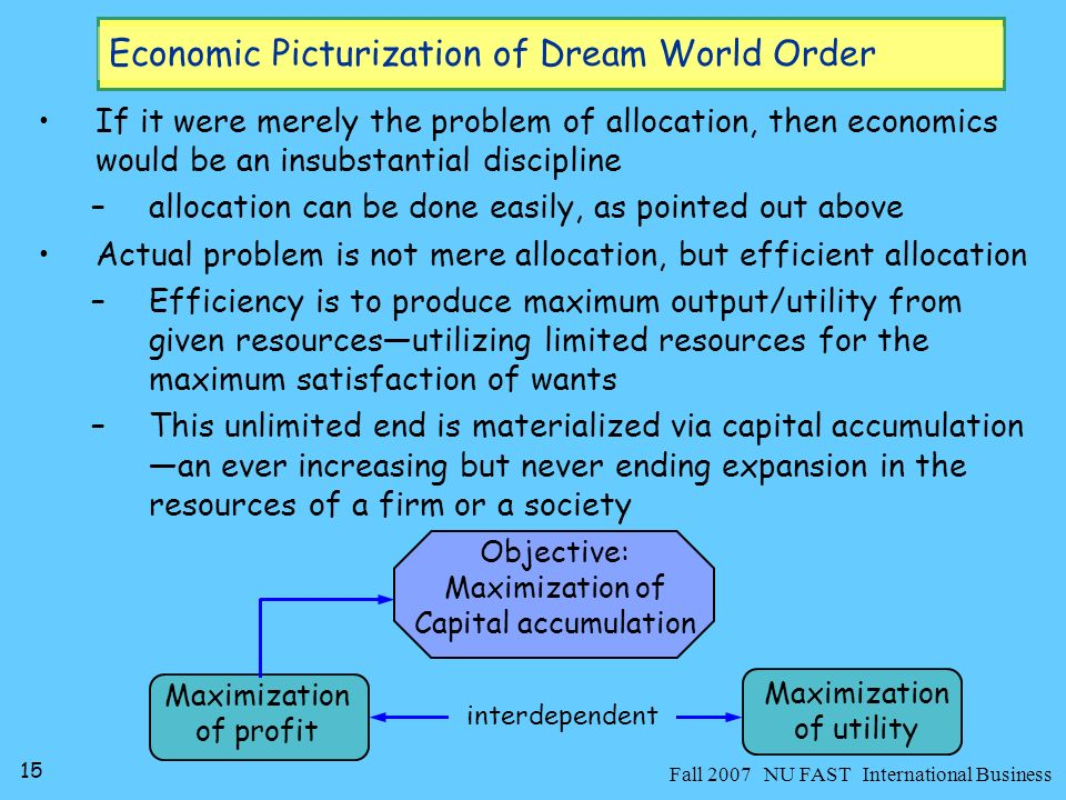 16 Fall 2007 NU FAST International Business Economic Picturization of Dream World Order It is believed that competition brings about efficiency –It is the rivalry among individuals to control given resources So b/c it forces resources to more skillful of producing efficiency –Competition can take multiple directions and forms to identify the necessary skills consistent with the achievement of efficiency in a particular activity Competition and efficiency are so related b/c, it is believed, that competition is a natural response of people when faced with scarcity Scarcity Choice Competition Efficiency Allocation Problem Self-interested individuation
