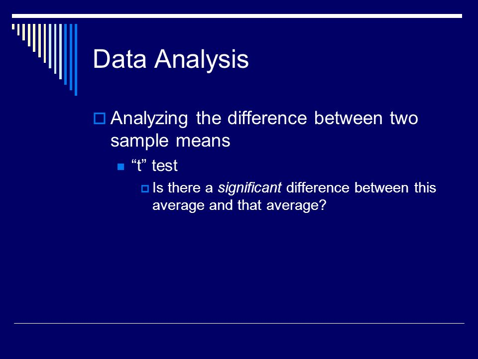 Data Analysis Analyzing the difference between more than two sample means Analysis of Variance Compares the variance within the samples to the variance between the samples