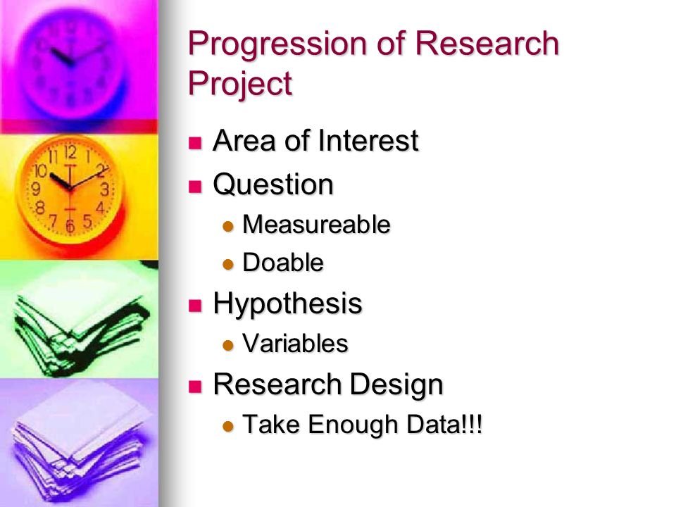 Progression of Research Project Execute Investigation Execute Investigation Data Analysis Data Analysis Graphs Graphs Statistical Analysis Statistical Analysis Final Write-Up Final Write-Up Research Paper Research Paper Poster Presentations @ Symposium Poster Presentations @ Symposium